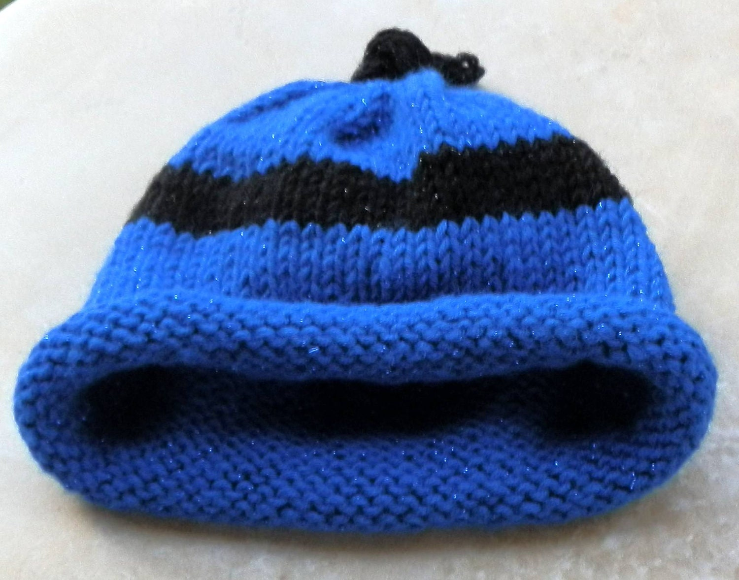 Knitting Pattern Umbilical Cord Hat : Umbilical Cord Baby Beanie Hat In Sparkle Brilliant Blue and