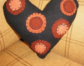 Penny Circle Miniature Wool Felt Heart Pillow