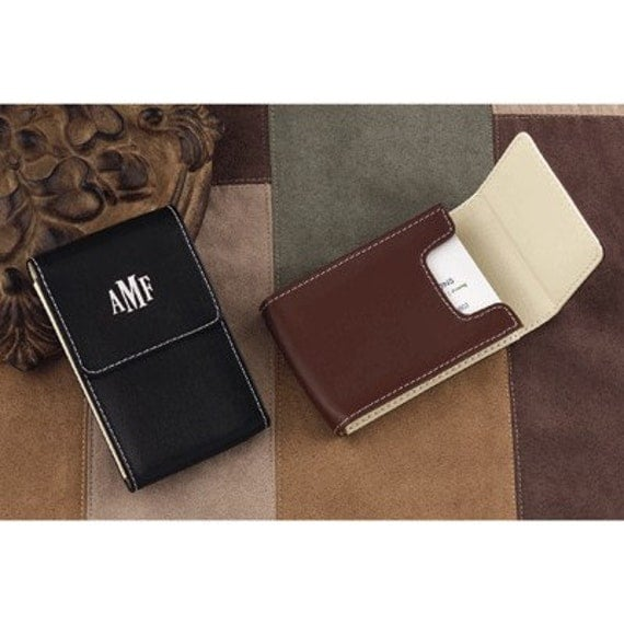 Leather Business Card Case Mens Gift