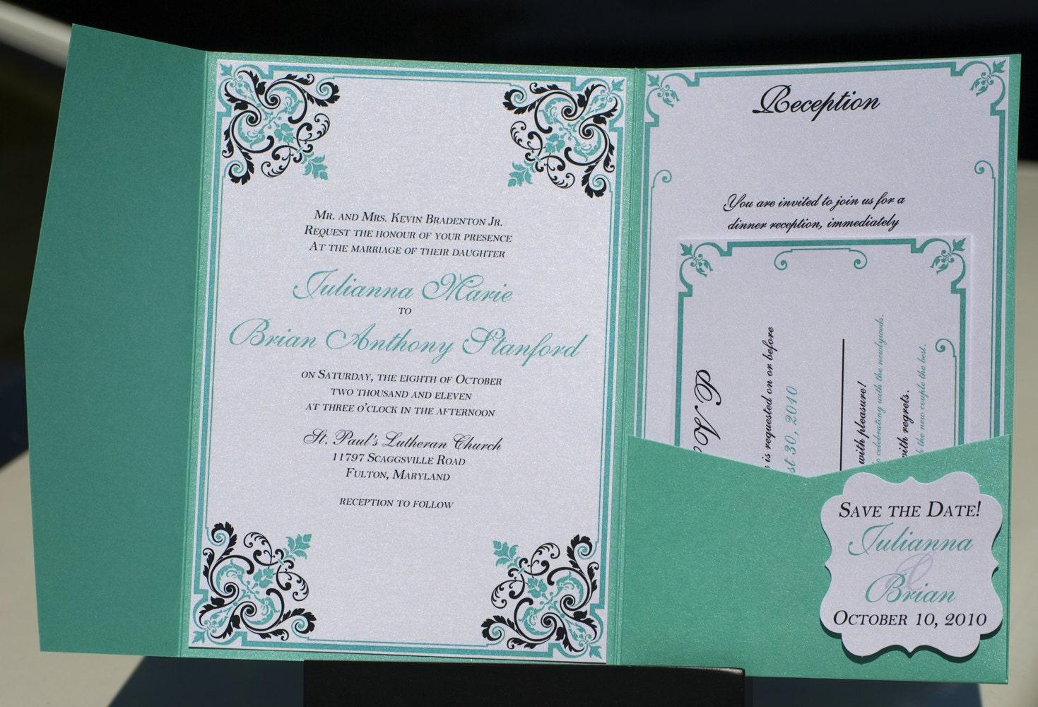 Wedding Invitations Turquoise: Turquoise Blue Wedding Invitation Pocketfold With By
