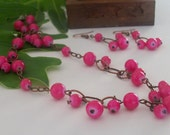 Pink Glass and Copper Necklace and Earring Set