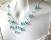 Blue Glass Web Necklace