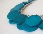 Teal Shell Cascade Necklace and Earring Set
