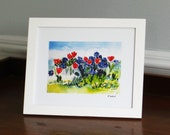Tulips Again,  5x7 print of Original Watercolor with border, Ready for framing in 8x10 frame