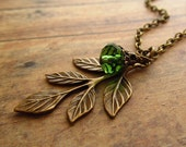 Antique Brass Leaf Spray Necklace