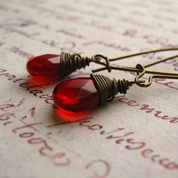 Ruby Red Wire Wrapped Earrings