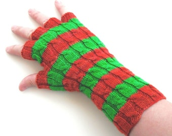 Irish Cabled Fingerless Gloves