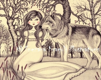 In the forest-Print of original colored pencil Fine Art illustration