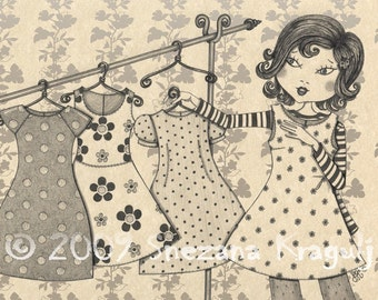 Shopping-Print of original pencil and ink  Fine Art illustration