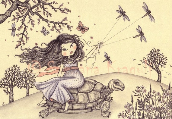 Running to the spring-Print of original colored pencil Fine Art illustration