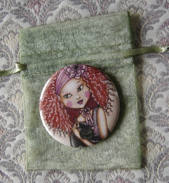 Red hair black cat-pocket mirror 2.25 inch 5.6cm