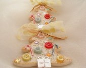 Christmas Tree Ornament Wood Tree White Tree Pastel Colors Babys first Christmas Buttons Candy Canes