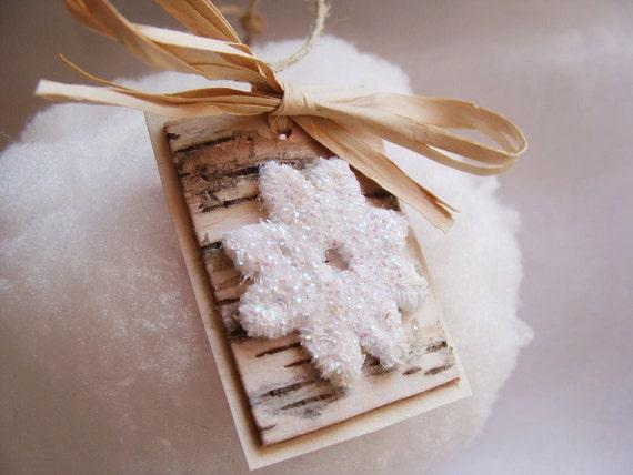 Gift tags,  Birch Tree, Snowflakes, Christmas Tree Ornament, Gift Ties