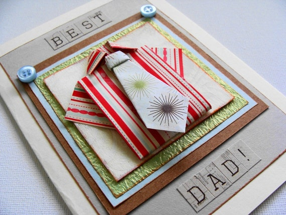 Best Dad Card, Origami Shirt and Tie, Gift Card for Him, Fathers Day Card
