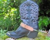 Kids Vintage Leather Cowboy Boots with Spurs / Y E E H A W / size 2 / S A L E