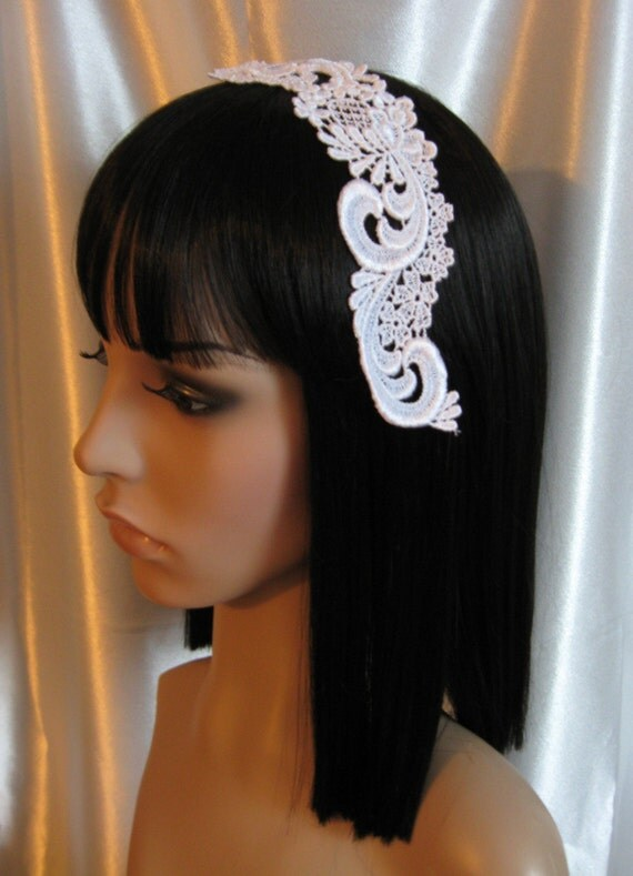 White Venise lace Collar pieces - head bands, head pieces, altered art, sewing, crafts, bridal (15).