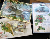 VINTAGE CHRISTMAS POSTCARDS - Home for the Holidays (Set of 3)