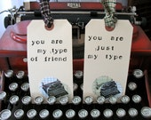 TYPEWRITER GIFT TAGS - Set of 2