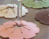 Hibiscus Slip-on Coasters in Pink and Green - set of 6