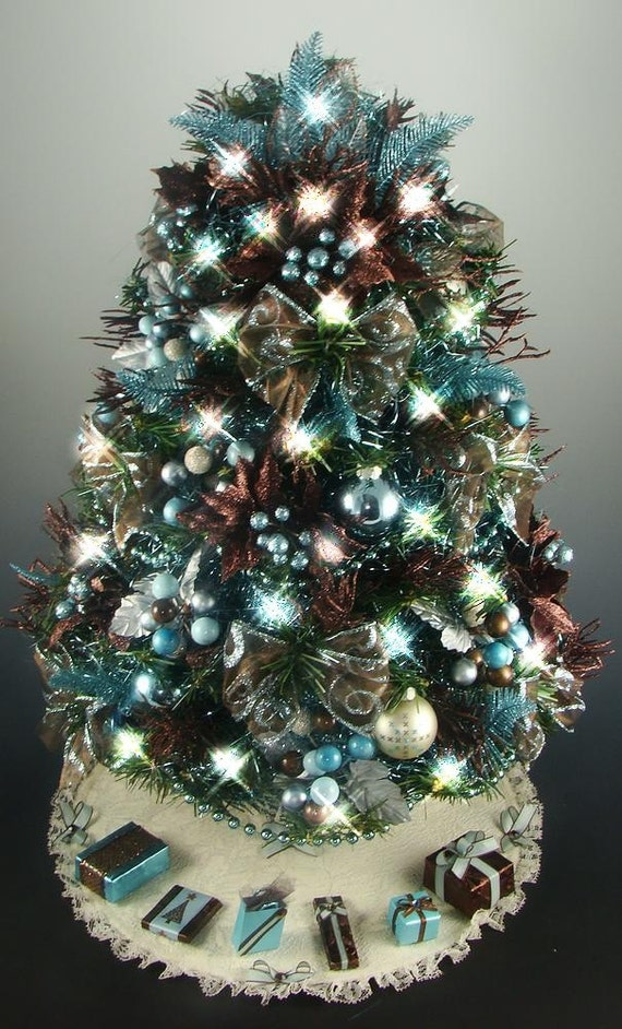 Tabletop Christmas Tree Brown / Aqua / Turquoise 21 Inches