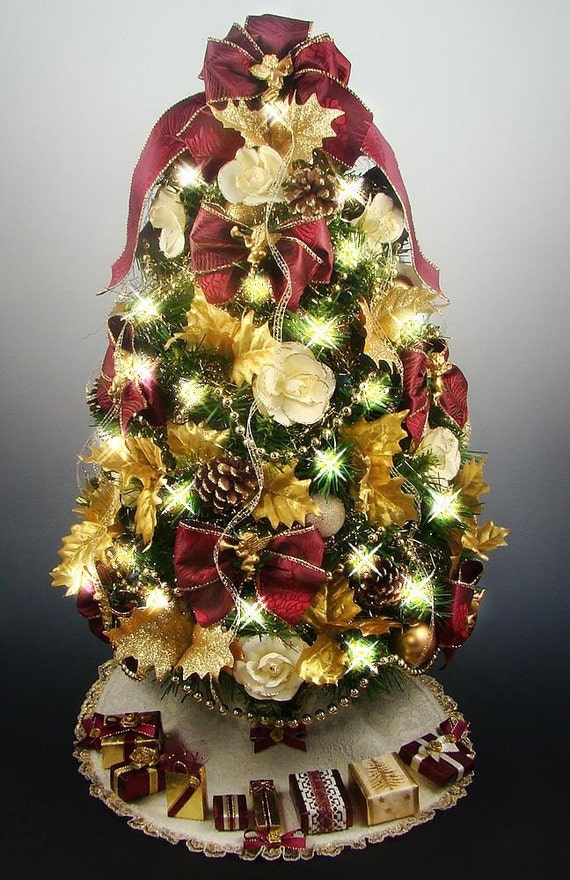 Victorian tabletop mini christmas tree burgundy gold