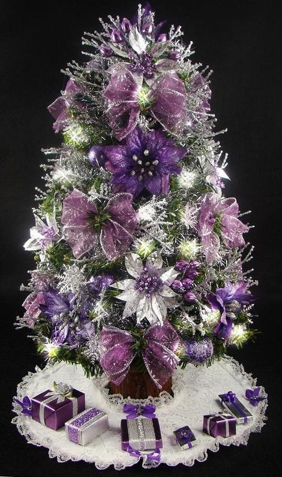 mini tabletop christmas tree purple and silver 17 inches. Black Bedroom Furniture Sets. Home Design Ideas