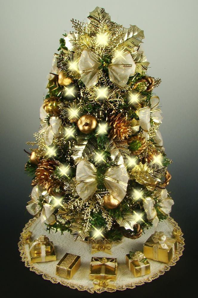 Decorated Mini Tabletop Christmas Tree Gold & Antique White