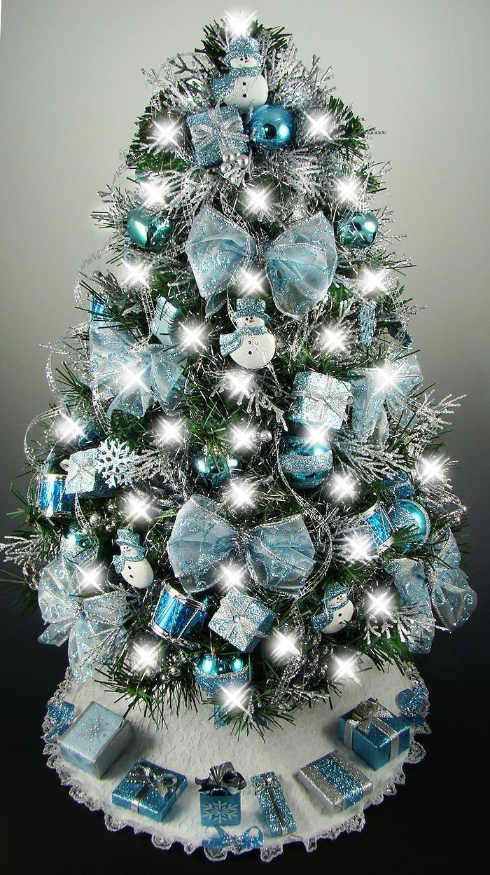 Decorated mini tabletop christmas tree turquoise blue for Small christmas decorations