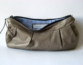 tan shimmer remnant leather pleated clutch handmade / / la pochette