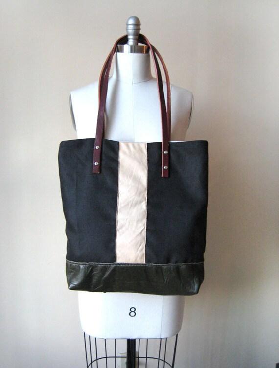 eco friendly hemp blend and leather handle tote bag // le sac de ville