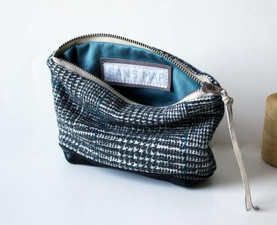 sweet wool pouch leather handmade zip pouch case // la trousse