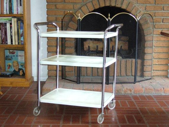 vintage 3 tier metal cart with wheels. Black Bedroom Furniture Sets. Home Design Ideas