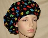Bouffant Scrub Hat - Autism Awareness Puzzle Pieces Fabric