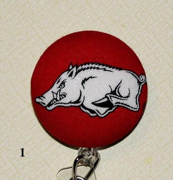 Retractable ID Badge Holder - University Of Arkansas Razorbacks