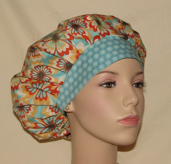 Bouffant Surgical Scrub Hat - Tossed Cabana Floral