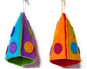 Spotty Multi Coloured Felt Egg Cosies (Set of 2) For Breakfast / Kitchen Accessory / Easter Gift Idea for Children