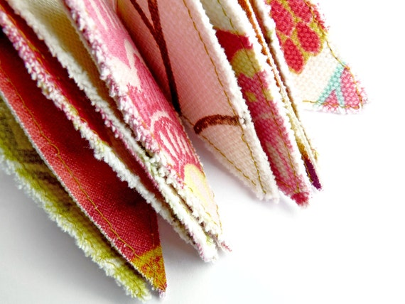 Mini Bunting in Multi Coloured Fabrics on Ribbon (Approx 1.7 Meters/5.6 Feet)