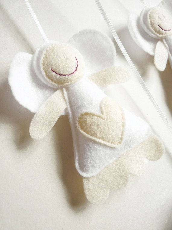 Love Heart Fairy Mobile/Wall Hanging - Felt and Ribbon in Cream and White - Babies/Children Room Decor