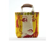 Promotional Price... Fashion Face Green Dots... Hand silk-screened canvas tote