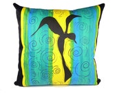STUDIO CLEARANCE SALE ***  ooak Bird ooak hand silkscreened decorative throw pillow