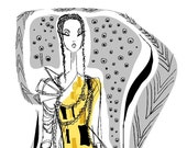 PATTERN DRESS 8x10 digital print -fashion illustration by Jacque Pierro
