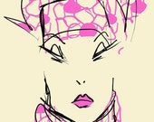 PATTERNED PINK SCARF-digital fashion illustration print