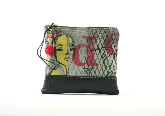 50% OFF & FREE SHIPPING ooak large pouch with leather and  hand silkscreened textiles-bag no. 22