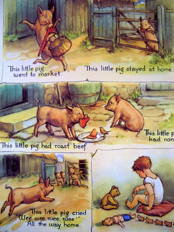 1920s This Little Pig NURSERY RHYME Margaret TARRANT  print