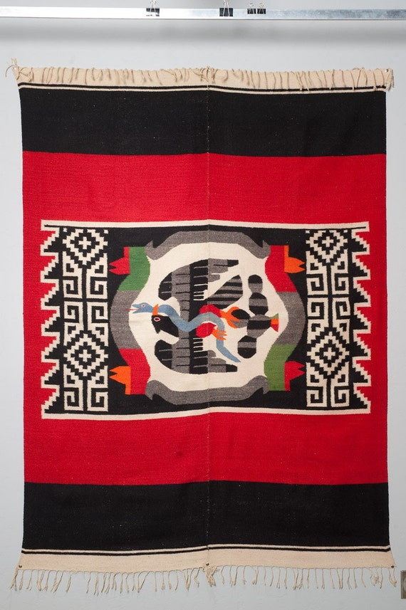 Mexican Zapotec Indian S Wool Rug 1940s 56 X 79 By Evolve2love