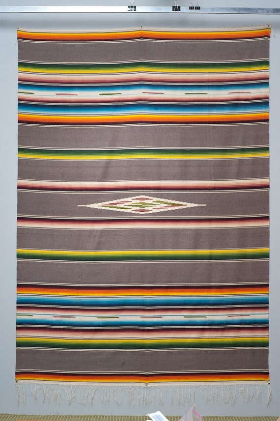 1960s Mexico Zapotec Wool Rug Blanket 94 X 66 Inches Mexican