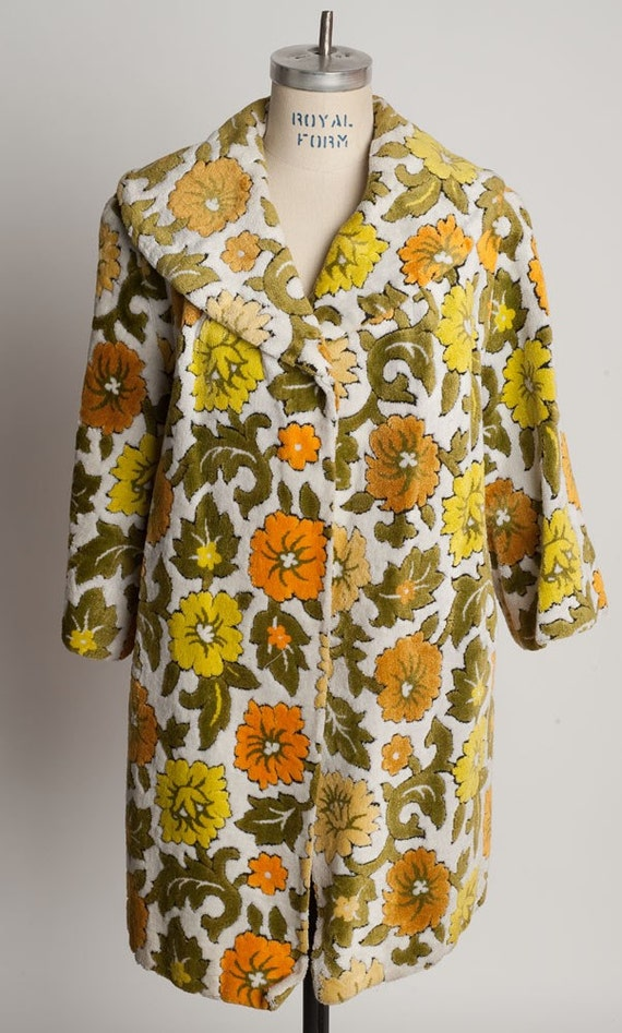Switzers floral coat cape froc vintage 1970's BOHO jacket flowers large Chenille Bohemian Awesome