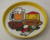Vintage Kitsch Modern Metal Beer and Snack Tray