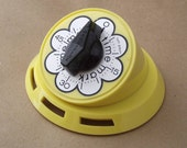Vintage Mod Sunny Yellow Kitchen Timer with Flower Motif