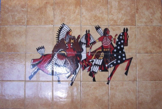 Tile Mural, outdoor kitchen, indoor kitchen, backsplash, stove backsplash, southwestern, tile mural, custom artwork, USA, Native American